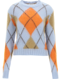 KENZO ARGYLE SWEATER IN WOOL AND MOHAIR M Light blue, Orange, Brown Wool