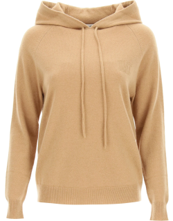 MAX MARA HOODED SWEATER WITH MONOGRAM M Brown Wool, Cashmere