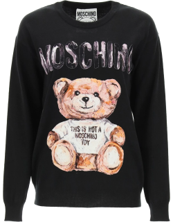 MOSCHINO SWEATER WITH FLOCKED TEDDY BEAR PATCH M Black Wool