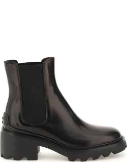 TOD'S GOMMA CARRO BOOTS T60 08D 38 Black Leather