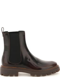 TOD'S GOMMA CARRO BOOTS T60 08D 38 Brown Leather