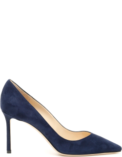 JIMMY CHOO SUEDE ROMY 85 PUMPS 38 Blue Leather