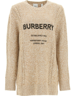BURBERRY MABEL HORSEFERRY PRINT SWEATER XS Beige, Brown, Black Wool, Cotton