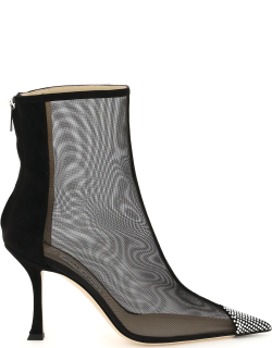 JIMMY CHOO NAIDO 90 BOOTS 38 Black Leather, Technical