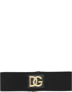 DOLCE & GABBANA STRETCH BELT WITH MONOGRAM 75 Black, Gold Technical, Leather