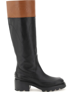 TOD'S BICOLOR LEATHER BOOTS 36 Black, Brown Leather