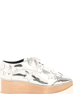STELLA McCARTNEY ELYSE LACE-UP SHOES 38 Silver, White Synthetic