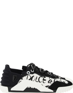 DOLCE & GABBANA NS1 SNEAKERS WITH PRINT 39 Black, White Cotton