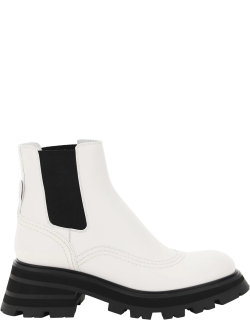 ALEXANDER MCQUEEN WANDER CHELSEA BOOTS 38 White, Black Leather