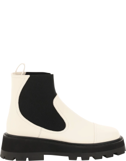 JIMMY CHOO CLAYTON BOOTS 38 White, Black Leather
