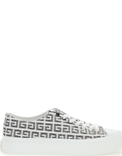 GIVENCHY 4G JACQUARD CITY SNEAKERS 35 White, Black Technical