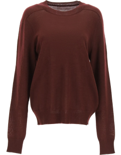 MAISON MARGIELA STICHING SWEATER WITH SUEDE PATCHES M Red Wool