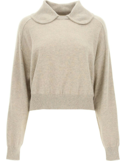LOULOU STUDIO CACHEMIRE SWEATER WITH COLLAR M Beige Cashmere