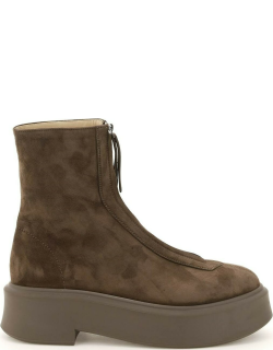 THE ROW ZIPPED SUEDE LEATHER ANKLE BOOTS 38 Brown Leather