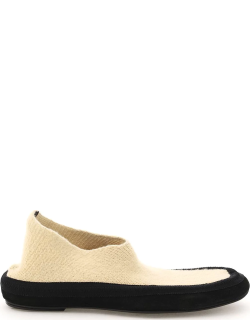 THE ROW CASHMERE FAIRY SHOES 38 Beige, Black Wool