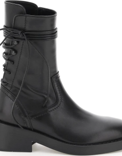ANN DEMEULEMEESTER HENRICA LEATHER BOOTS 38 Black Leather