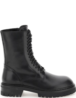 ANN DEMEULEMEESTER ALEC LEATHER COMBAT BOOTS 38 Black Leather