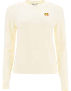 KENZO TIGER PATCH SWEATER M White Wool