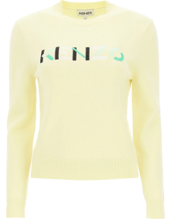 KENZO SWEATER WITH MULTICOLOR LOGO EMBROIDERY XS Yellow Wool