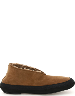 THE ROW SHEARLING FAIRY SHOES 39 Brown, Black Fur, Leather