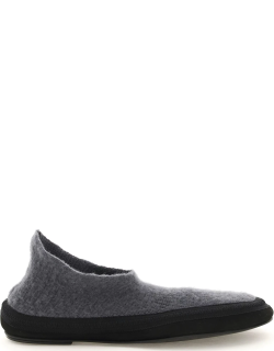 THE ROW CASHMERE FAIRY SHOES 39 Grey, Black Wool