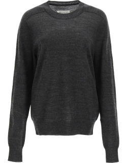 MAISON MARGIELA STICHING SWEATER WITH SUEDE PATCHES L Grey Wool