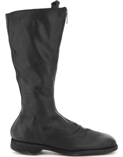 GUIDI FRONT ZIP LEATHER BOOTS 39 Black Leather