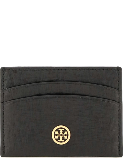 TORY BURCH CREDIT CARD HOLDER WITH LOGO PIN OS Black Leather