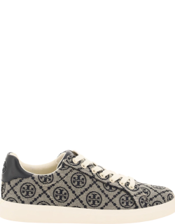 TORY BURCH T-MONOGRAM HOWELL COURT SNEAKERS 9 Beige, Blue Technical