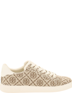 TORY BURCH T-MONOGRAM HOWELL COURT SNEAKERS 9 Beige, Brown Technical