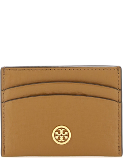 TORY BURCH CREDIT CARD HOLDER WITH LOGO PIN OS Brown Leather