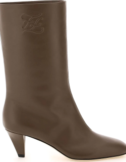 FENDI FF KARLIGRAPHY LOGO BOOTS 39 Brown Leather