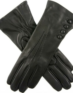 Dents Women's Cashmere Lined Leather Gloves In Black (Red)