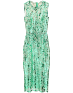 DOLCE & GABBANA KNEE-LENGHT DRESS WITH LAMINATED LACE 40 Green Cotton