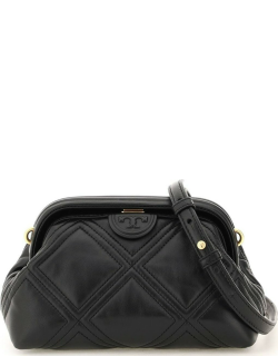 TORY BURCH FLEMING LEATHER CLUTCH OS Black Leather