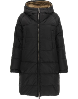 MAX MARA THE CUBE REVERSIBLE DOWN JACKET IN TECHNICAL SATIN 38 Black, Brown Technical