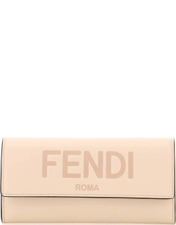 FENDI CONTINENTAL WALLET OS Pink Leather