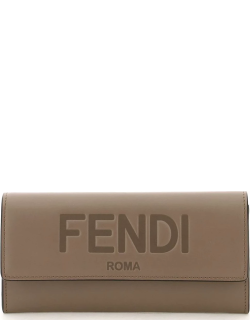FENDI CONTINENTAL WALLET OS Brown Leather