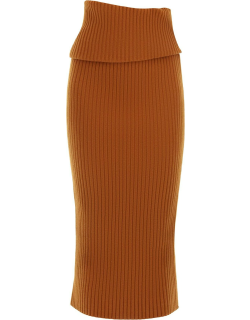 SPORTMAX CELSO KNIT SKIRT XS Brown Wool