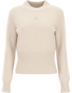 TORY BURCH MONOGRAM EMBROIDERED SWEATER S Beige Wool