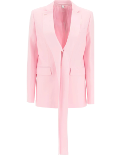 BURBERRY WOOL JACKET WITH EXTRA LONG LAPEL 4 Pink Wool