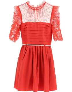 SELF PORTRAIT TAFFETA AND TULLE MINI DRESS WITH BELT 6 Red