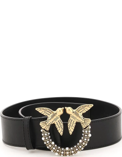 PINKO LOVE BIRDS LEATHER BELT WITH PEARLS XS Black Leather