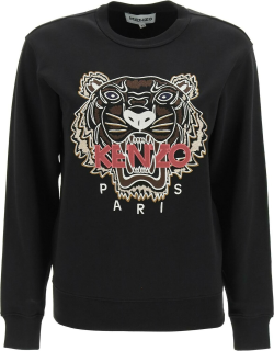 KENZO SWEATSHIRT WITH TIGER EMBROIDERY XS Black, Pink, Brown Cotton