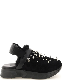 GIVENCHY MARSMALLOW CLOG SANDALS WITH STUDS 36 Black Leather