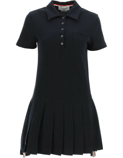 THOM BROWNE POLO DRESS WITH PLEATED HEM 38 Blue Cotton
