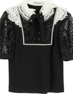 SELF PORTRAIT MINI DRESS WITH LACE AND CRYSTALS 6 Black, White