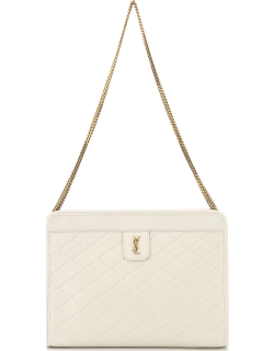 SAINT LAURENT VICTOIRE QUILTED CLUTCH OS White Leather