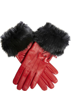 Dents Women's Wool Lined Leather Gloves With Hearts And Faux Fur Cuffs In Berry/black