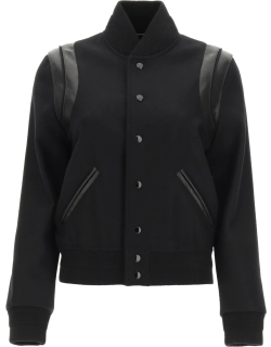 SAINT LAURENT TEDDY BOMBER JACKET IN WOOL AND LEATHER 36 Black Wool, Leather